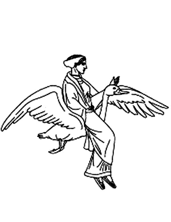 Aphrodite, : Aphrodite Ride a Goose Coloring Page