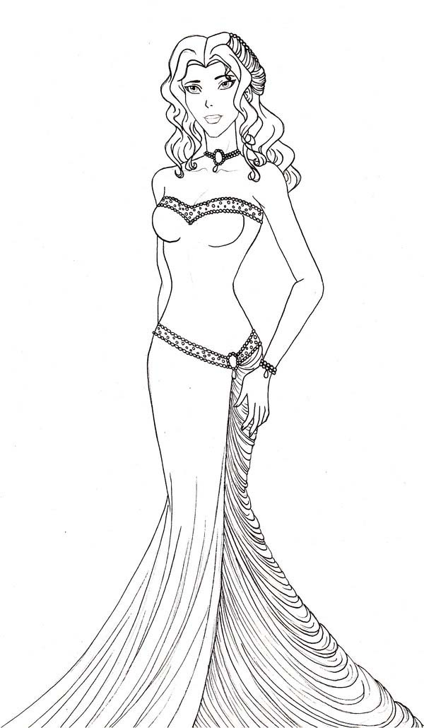 aphrodite wearing beautiful gown coloring page
