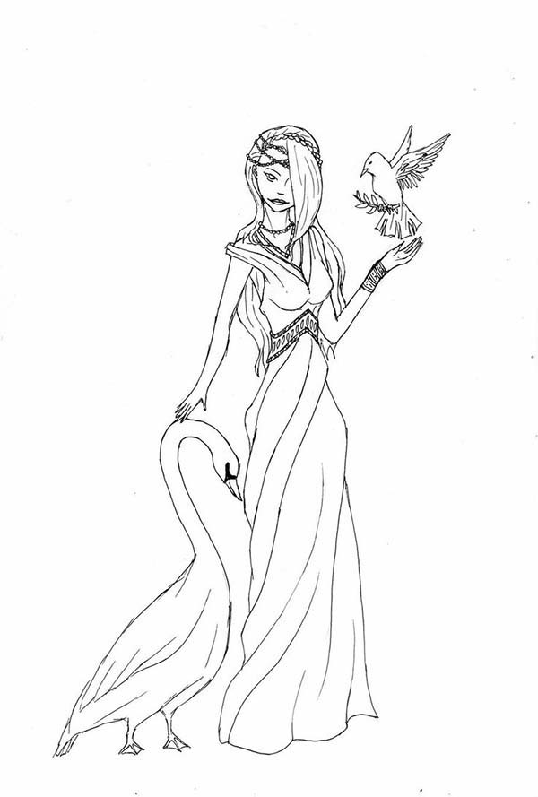 Aphrodite, : Aphrodite with Goose and Bird Coloring Page