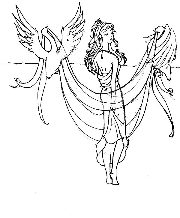 Aphrodite, : Aphrodite with Two Birds Coloring Page