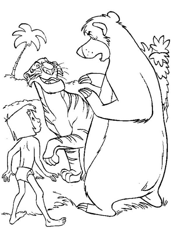 The Jungle Book, : Baloo and Mowgli Meet Shere Khan in the Jungle Book Coloring Page