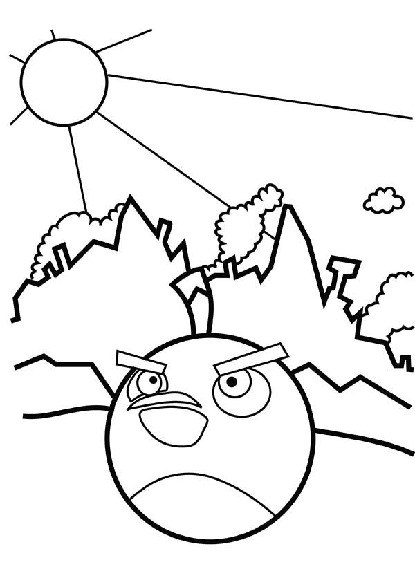 Angry Birds, : Bomb the Black Bird in Angry Bird Coloring Page