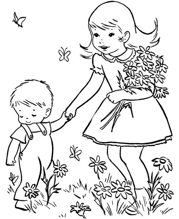 Spring, : Bring Little Brother Play at the Garden in Spring Coloring Page
