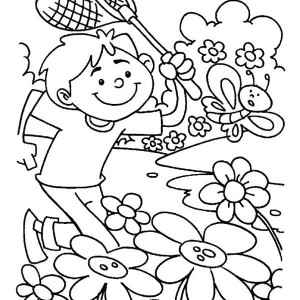 catching butterfly on spring time coloring page