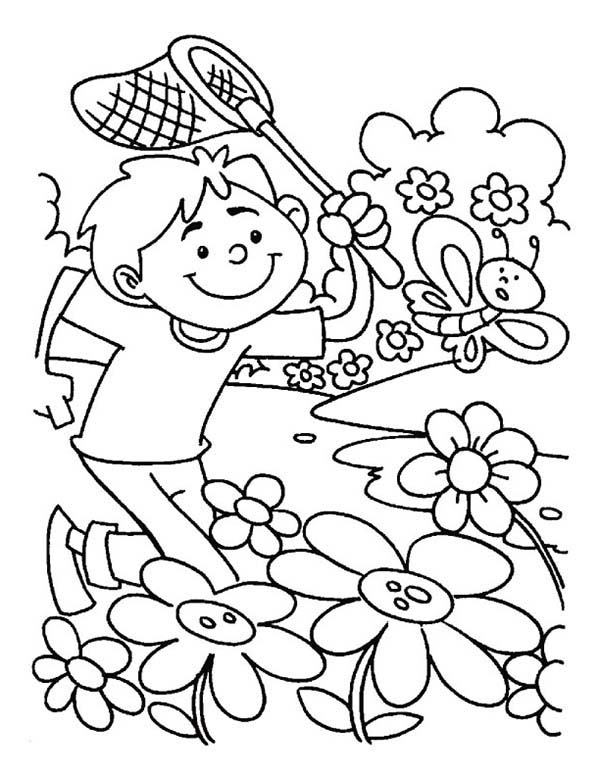 Spring, : Catching Butterfly on Spring Time Coloring Page
