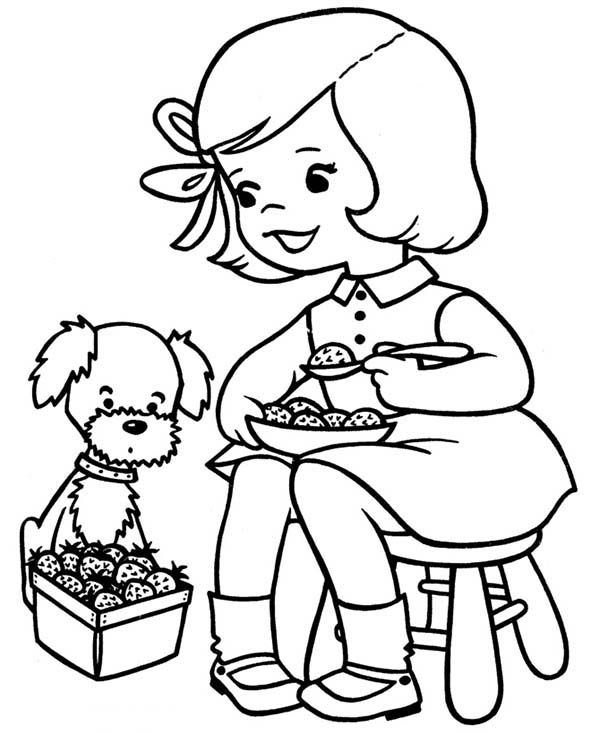 Spring, : Delicious Spring Fruit Coloring Page