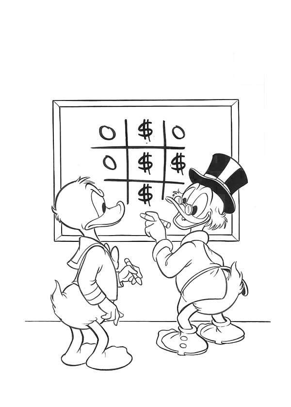 Scrooge Mcduck, : Donald Want to Borrow Some Money from Scrooge Mcduck Coloring Page