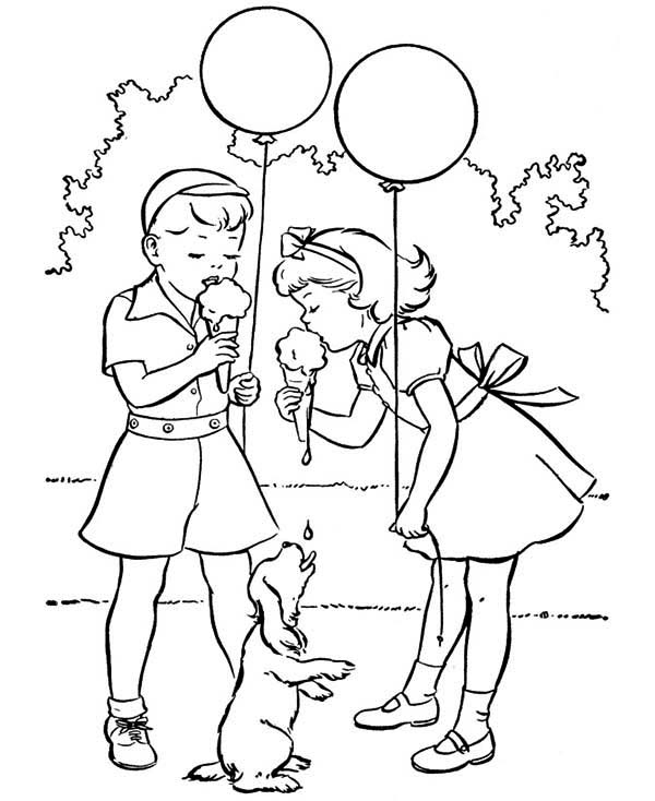 eat delicious ice cream in spring coloring page kids play color