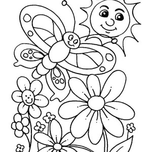 everybody is happy when spring is here coloring page - Coloring Pages Spring Butterflies