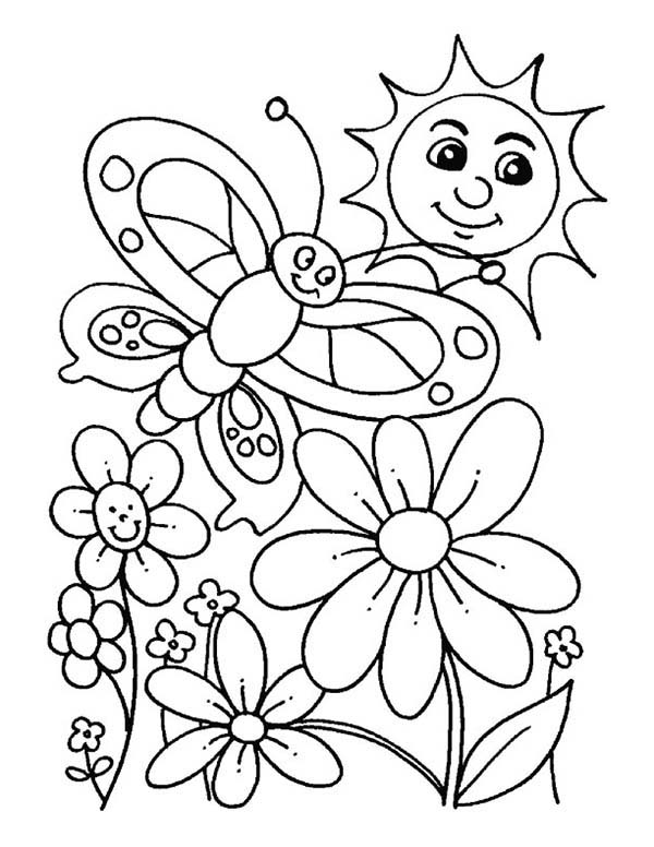 Spring, : Everybody is Happy When Spring is Here Coloring Page