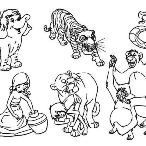 famous characters of walt disney the jungle book coloring page - Disney Jungle Book Coloring Pages
