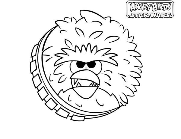 Angry Birds, : Fuzzy Chewbacca in Angry Bird Star Wars Coloring Page