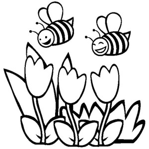 happy bees and spring flower coloring page