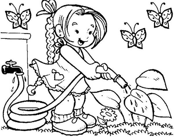 Spring, : Kid Watering Flower at Spring Coloring Page