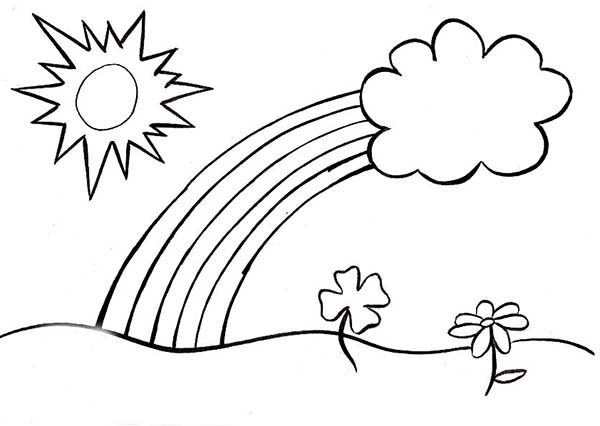 Spring, : Kids Drawing of Spring Coloring Page