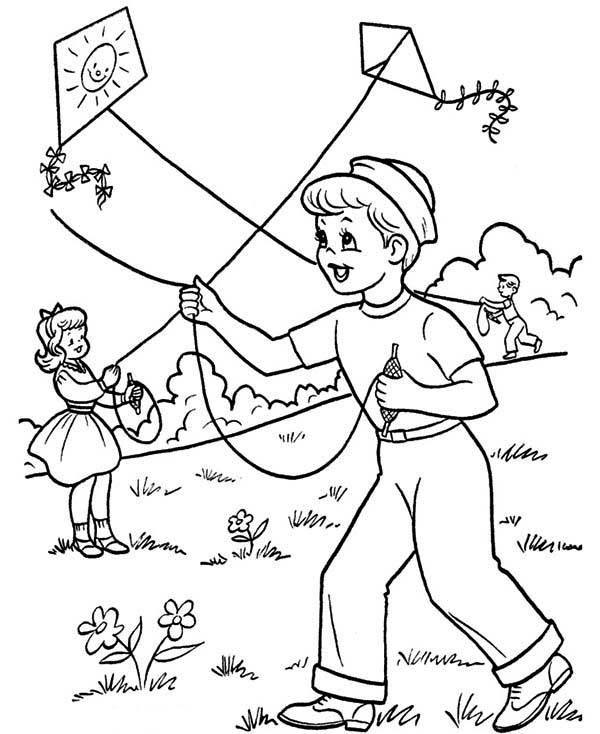 Spring, : Kids Playing Kite on Spring Time Coloring Page