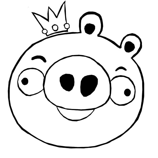 Angry Birds, : King Pig in Angry Bird Coloring Page