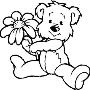 Spring, Little Bear Holding Spring Flower Coloring Page: Little Bear ...