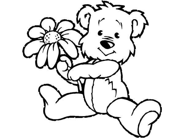 Spring, : Little Bear Holding Spring Flower Coloring Page