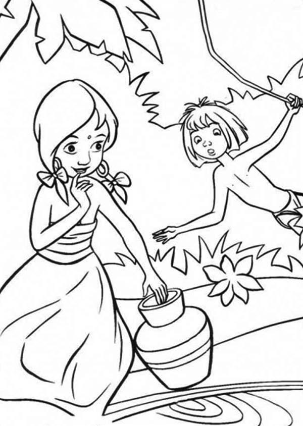 The Jungle Book, : Mowgli Teasing Shanti in the Jungle Book Coloring Page