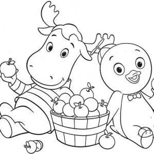 pablo and tyrone eat some fruit in the backyardigans coloring page