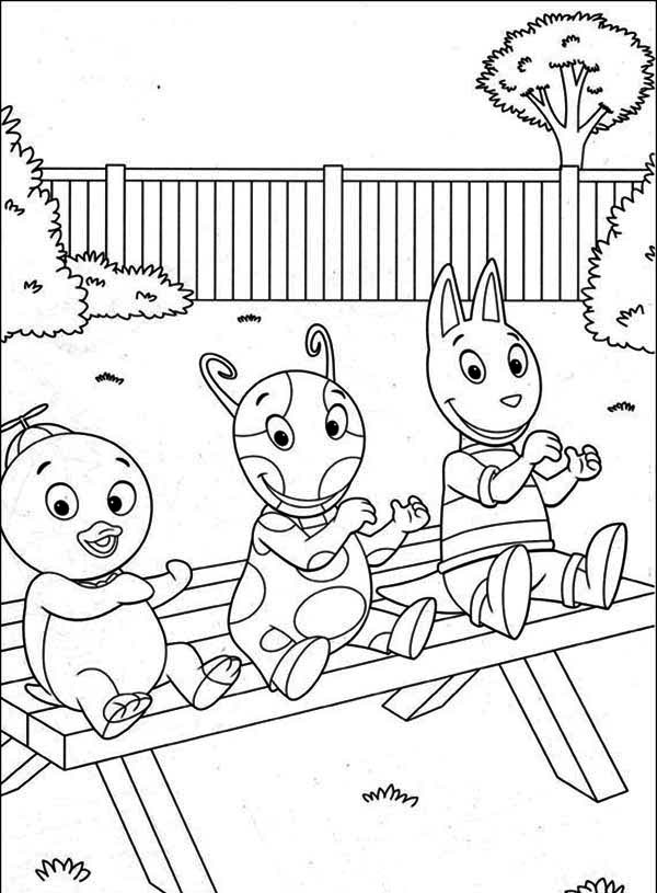 The Backyardigans, : Pablo and Uniqua and Austin Sitting on the Bench in the Backyardigans Coloring Page