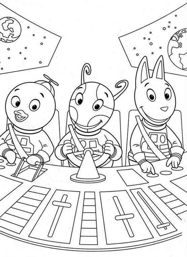 The Backyardigans, : Pablo and Uniqua and Austin in Spaceship in the Backyardigans Coloring Page