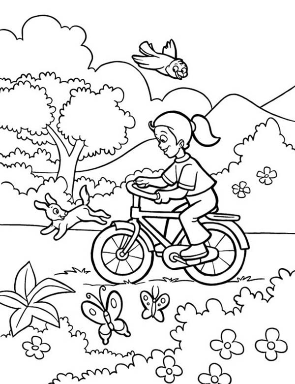 Spring, : Playing Bike on Spring Coloring Page