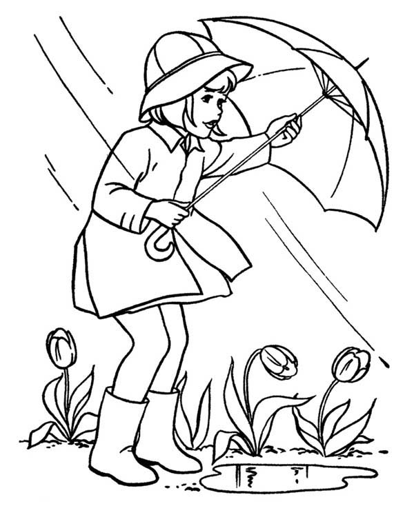Spring, : Rainy Begin to End When Spring About to Begin Coloring Page