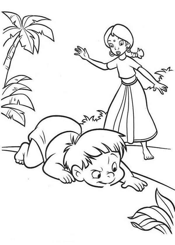 The Jungle Book, : Ranjan with Shanti in the Jungle Book Coloring Page