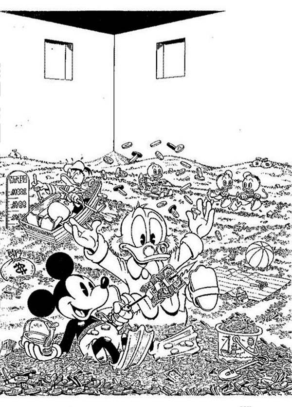 Scrooge Mcduck, : Scrooge McDuck Gold Pool Coloring Page