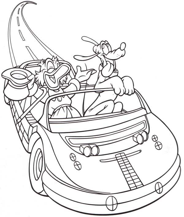 Scrooge Mcduck, : Scrooge Mcduck Test Drive His New Car with Pluto Coloring Page