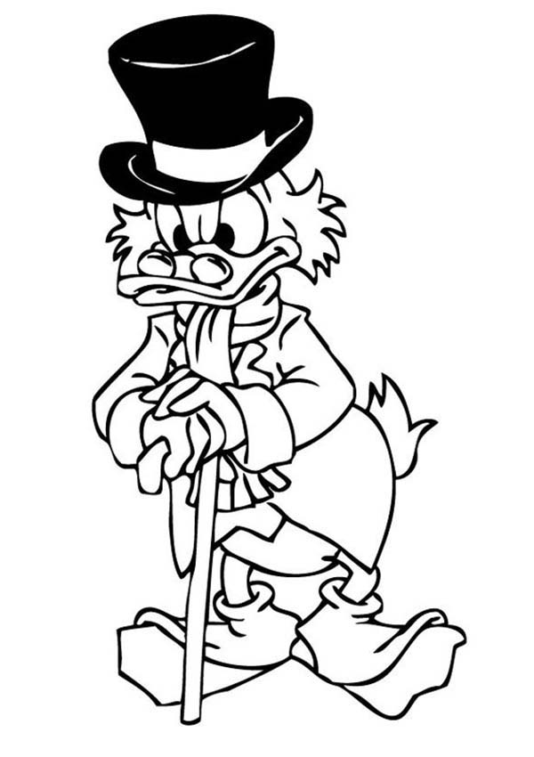 Scrooge Mcduck, : Scrooge Mcduck Thinking Hard Coloring Page