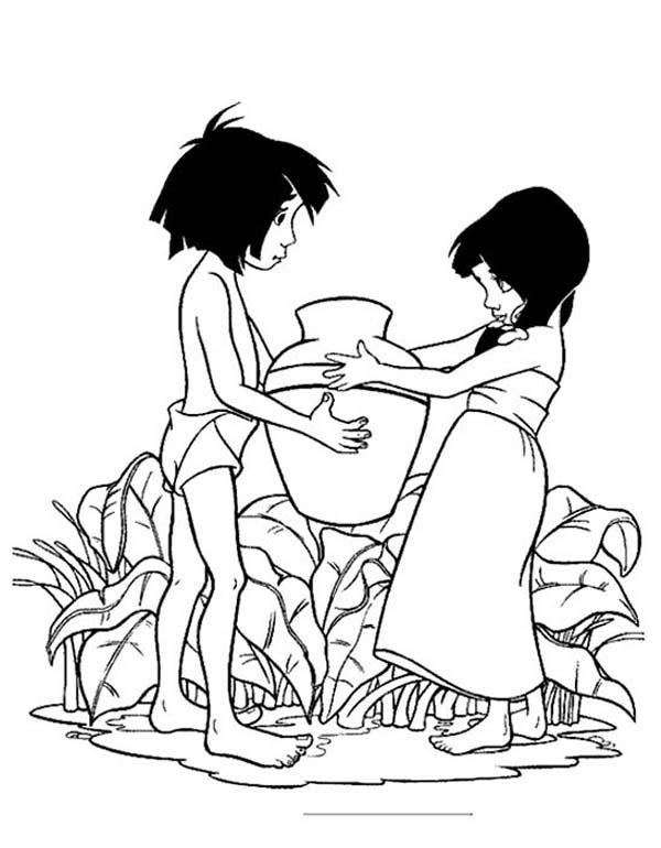 The Jungle Book, : Shanti Give Mowgli a Pottery in the Jungle Book Coloring Page