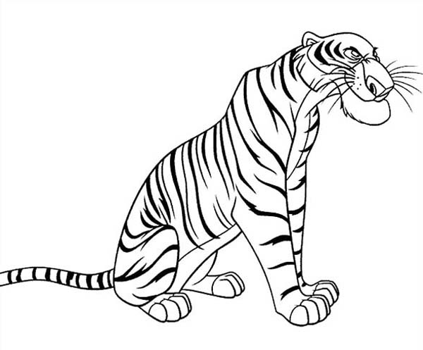 The Jungle Book, : Shere Khan the Bengal Tiger in the Jungle Book Coloring Page