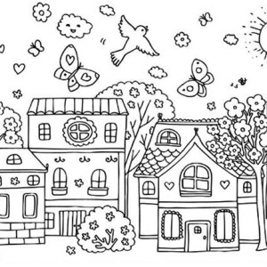 Spring Coloring Girl And Umbrella Coloring Page For Kids Spring