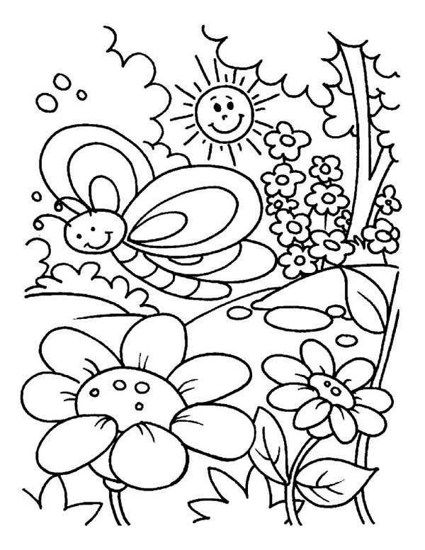 Spring, : Spring at Beautiful Garden Coloring Page