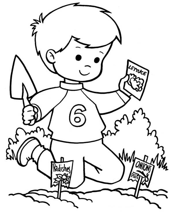 Spring, : Spring is Planting Season Coloring Page