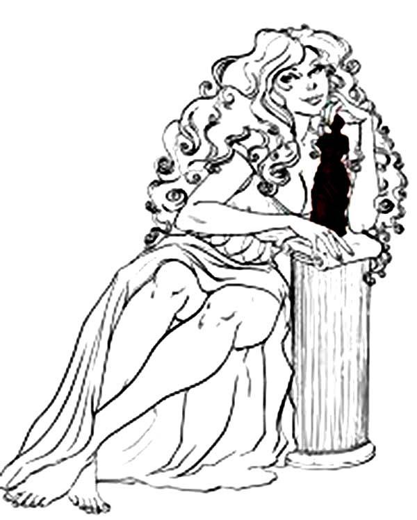 Aphrodite, : Taking Picture of Aphrodite Coloring Page