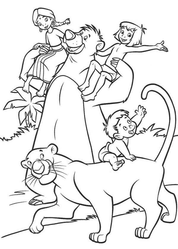 The Jungle Book, : The Jungle Book Characters Coloring Page