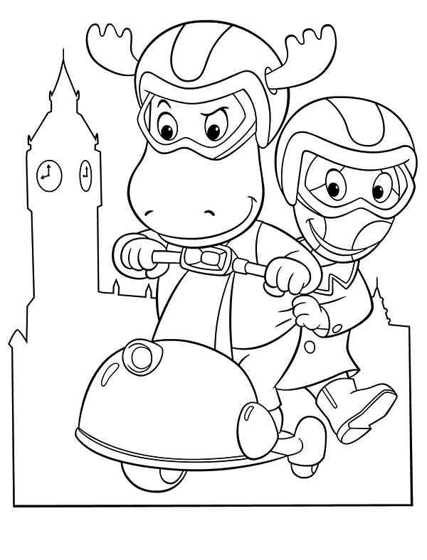 The Backyardigans, : Tyrone and Uniqua Ride Scooter in the Backyardigans Coloring Page