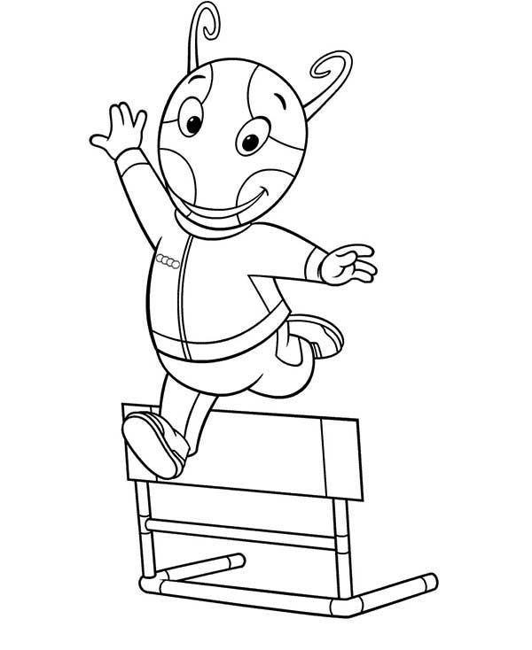 The Backyardigans, : Uniqua Jump Over a Bench in the Backyardigans Coloring Page