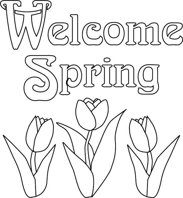 Spring, : Welcoming Spring Time Coloring Page