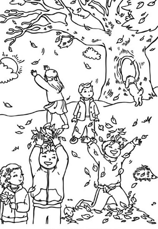Autumn, : Boys and Girls Catching Autumn Leaf Coloring Page