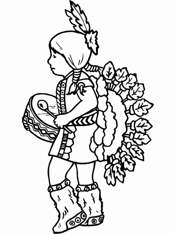 Native American Day, : Cute Native American Girl on Native American Day Coloring Page
