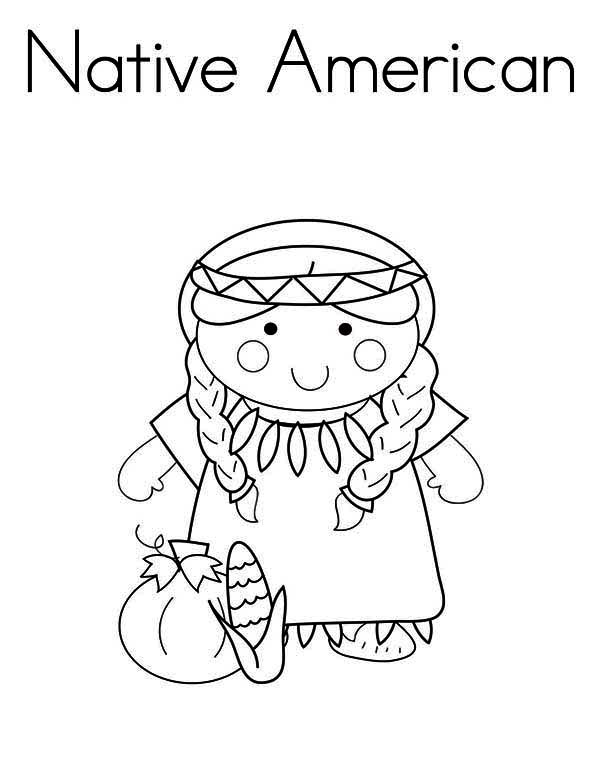 Native American Day, : Little Native American Girl on Native American Day Coloring Page