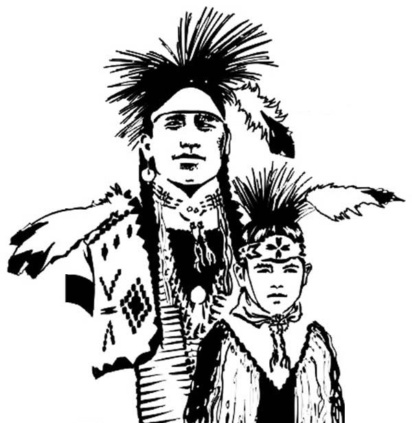 native american chief and his son on native american day coloring page
