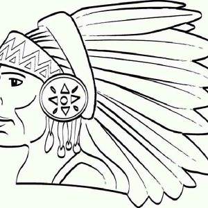 native american chief of apache tribe on native american day coloring page