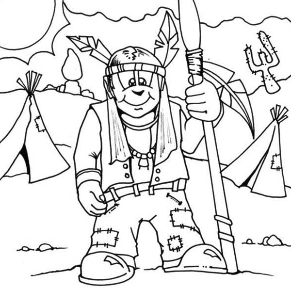 Native American Day, : Native American Prepare to Hunt on Native American Day Coloring Page