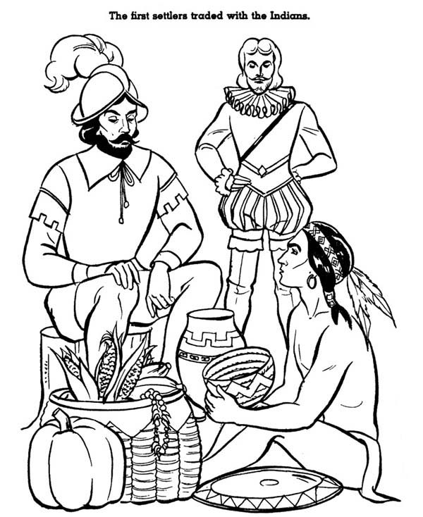Native American Day, : Native American Trading with European on Native American Day Coloring Page